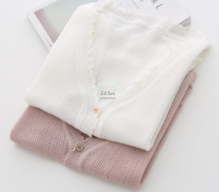 【2A Two】空氣針織🍰木耳邊⌒單排扣V領長袖針織衫『BA0649』