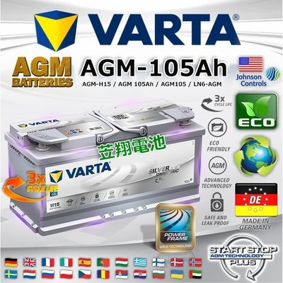 ~電霸科技~德國  電瓶 VARTA 汽車電池 H15 AGM 105AH LN6 保時捷 凱宴 奧迪 Q5 Q7