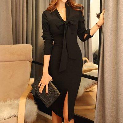 §§§ aMOre §§§ 優雅V領蝴蝶結綁帶設計 曲線窈窕女人味前衩造型黑色連身洋裝~超值 追加