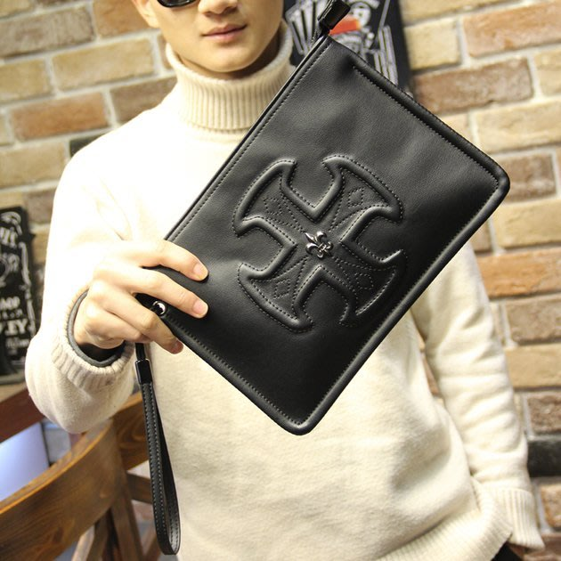 FINDSENSE 韓國男包 G6 男用休閒包大容量耐用瘋馬皮手拿包男士包包百搭手包潮流單肩斜挎休閒包