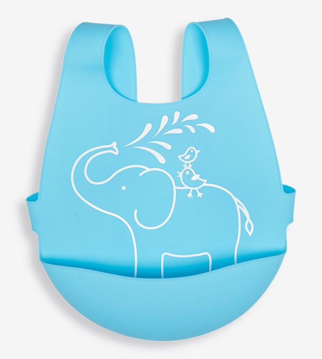 全矽膠後扣式口袋圍兜-粉藍大象/英國Jojo Maman Bebe【兔寶寶部屋】