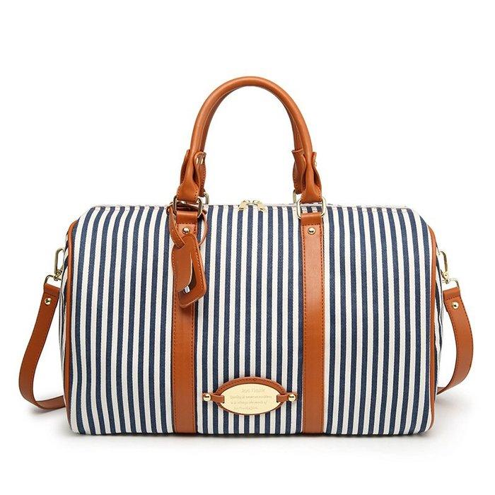 【藏私好物】2017春季新韓國帆布條紋旅行包女男短途行李包袋大容量手提旅遊包日韓