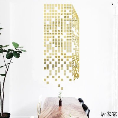 墻貼 墻畫 亞克力 立體墻畫 自黏 創意立方 馬賽克亞克力3d立體墻貼鏡面玄關客廳電視背景墻裝飾