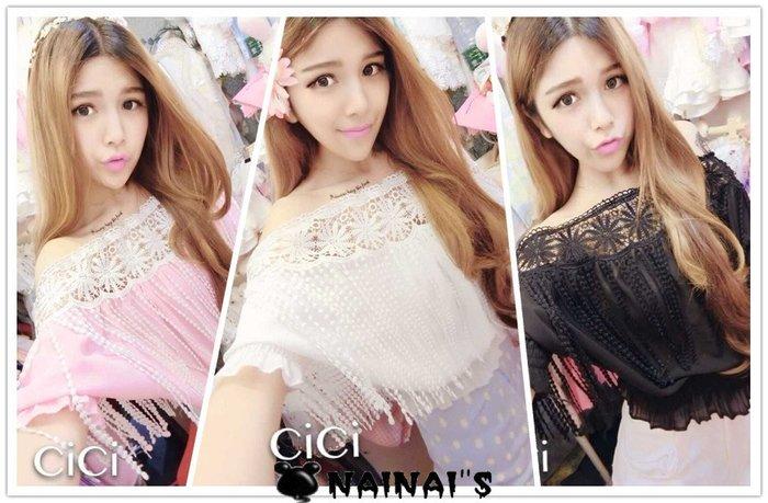 【NAINAIS】Fall‧OR 2244 韓版 女神款超仙甜美一字領接蕾絲勾花鏤空流蘇雪紡收腰短袖上衣 白色現貨