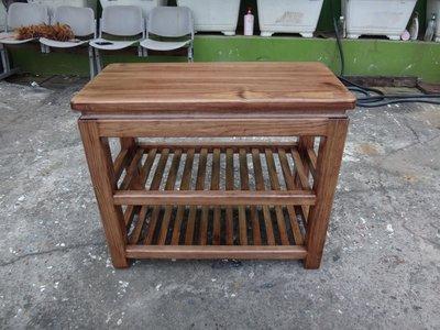 C002 {崙頂傳統原木家具行}~杉木雙層小實木桌 接受訂作  訂色