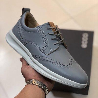 ECCO愛步潮流商務男鞋 舒適緩震時尚烤花精緻男士皮鞋640004雅仕系列灰色39-44
