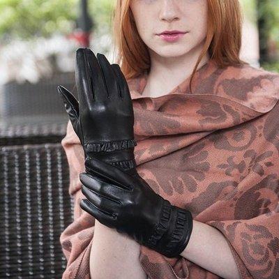 真皮手套 保暖手套-羊皮加絨雙層裙邊女手套73wm48[獨家進口][米蘭精品]