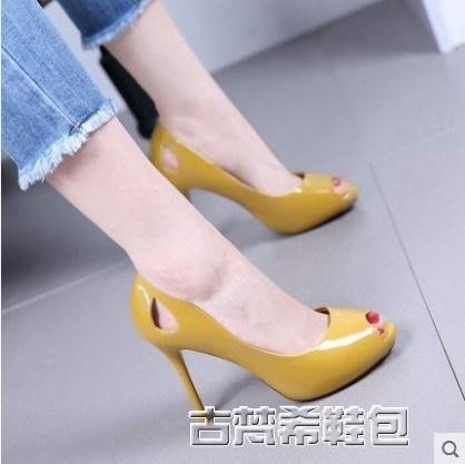 高跟鞋 春夏新款歐美黃色魚嘴漆皮細跟高跟鞋OL小清新時尚甜美單鞋女