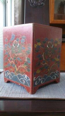 [達古堂]   彩漆雲龍紋方筒