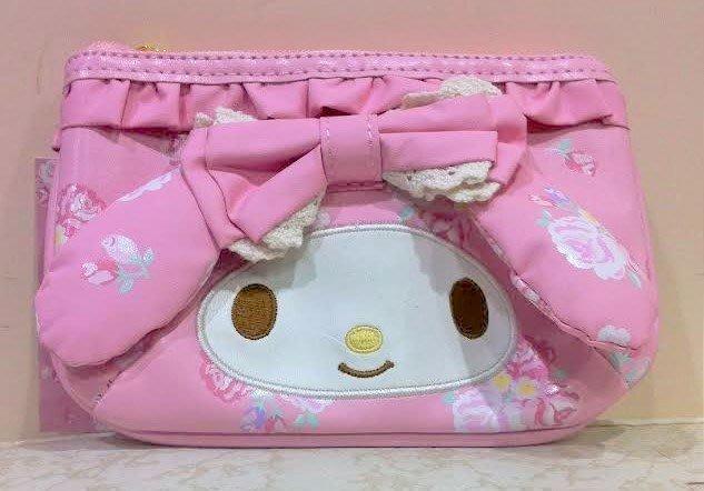 《東京家族》粉 玫瑰 美樂蒂兔耳 扁平化妝包/面紙包/零錢包/衛生棉包