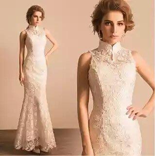 天使佳人婚紗禮服量身定做-----性感蕾絲掛脖露背魚尾白色旗袍