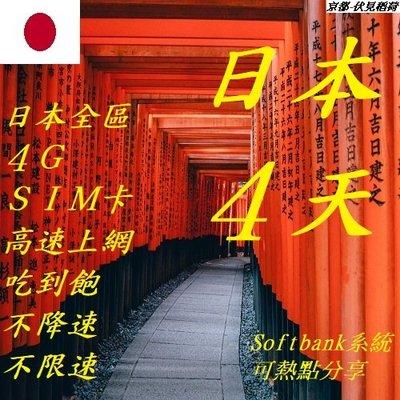 日本 4天/4日 wifi 全區 免開通 4G (附卡針) SIM 網卡 上網 不降速 吃到飽 插卡即用 不限速
