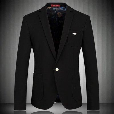 ~折扣店~有大碼(91301)2015男士高檔 3D裁剪 完美細節 英倫修身黑色禮服西裝外套