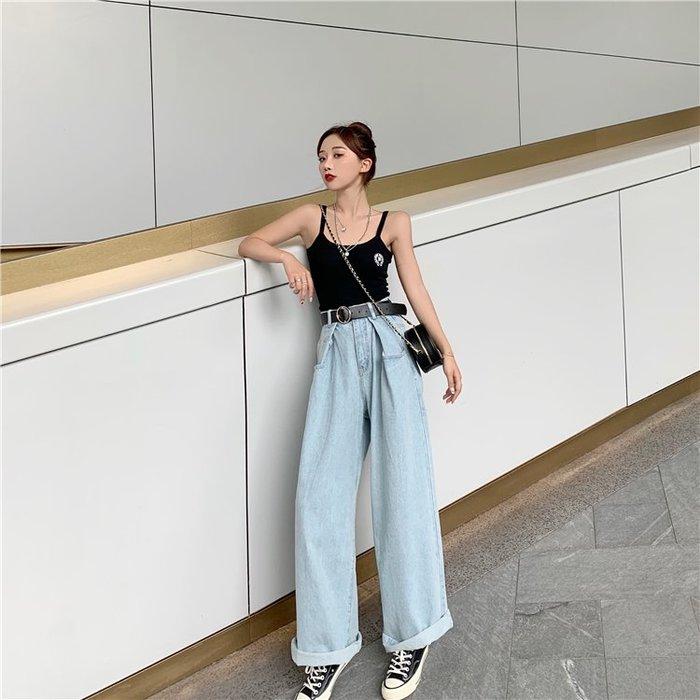 牛仔褲 闊腿牛仔褲女寬鬆2019夏季新款百搭高腰直筒顯瘦長褲