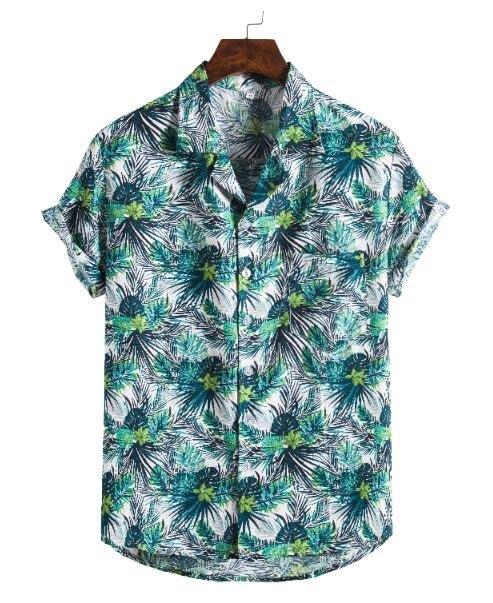 FINDSENSE X  男士 薄款 棉麻 西裝領 短袖 上衣 花色圖案襯衣 休閒 襯衫防曬上衣