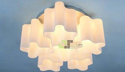 【SUN LIGHT 日光燈坊】奶白玻雲朵湖泊6頭吸頂燈,另復古工業LOFT甜甜圈PH松果IQ