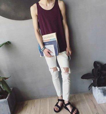 韓國簡約 小肩帶 背心男 條紋背心  夏季