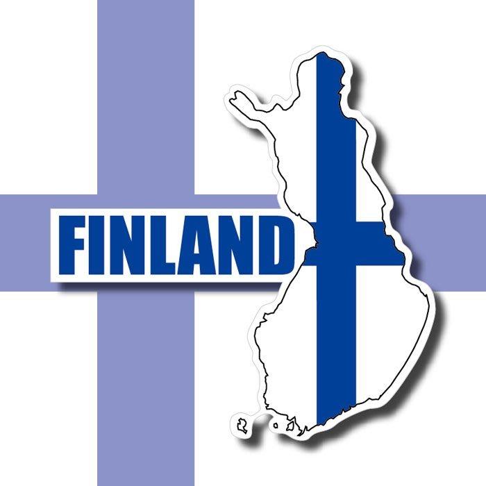【國旗貼紙專賣店】芬蘭國旗地圖抗UV、防水行李箱貼紙/Finland/多國款可訂製