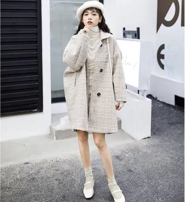 ✨日韓美著✨韓版中長款毛呢格子斗篷大衣外套cloak coat