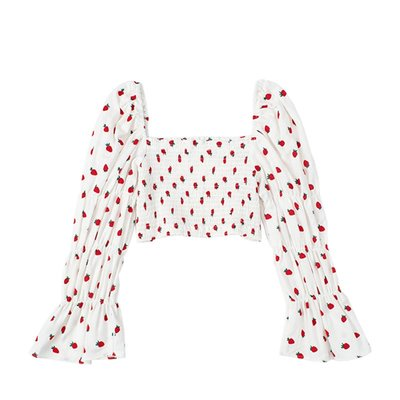 Kate@JIN自制秋法式方領草莓印花復古喇叭袖襯衫修身顯瘦百搭高腰上衣