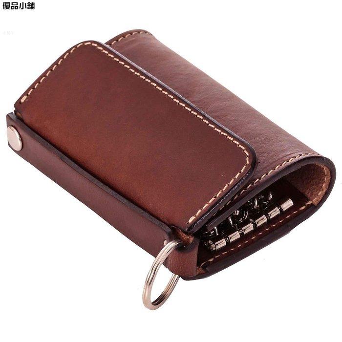 韓版皮革多功能男女式 鑰匙包 時尚三折帶卡位復古家用 鑰匙包 可加印 優品小鋪