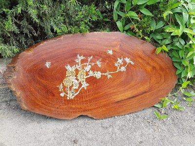 彰化二手貨中心(原線東路二手貨) ---早期鑲貝茶盤 螺鈿鑲貝茶盤 貝殼茶盤