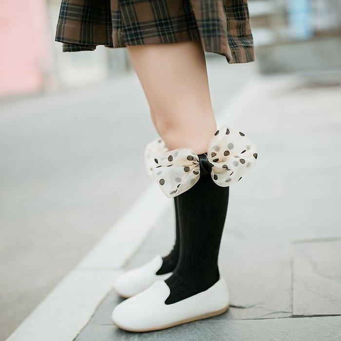【小阿霏】兒童潮襪 波點絲質蝴蝶結中高筒襪子 女童女孩堆堆襪 中小中大童尺碼PA142