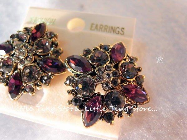 復古珍藏古銅金菱形紫水滴鑽寶石SWAROVSKI夾式插耳洞耳針貼耳飾可改夾式貼耳耳環 (多色)