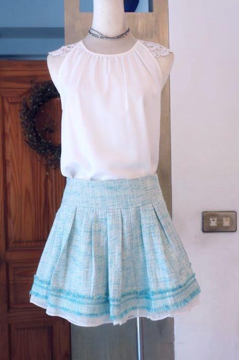 [C.M.平價精品館]現貨最後一件出清特價/設計師精品專櫃高質感雪紡裙襬內安全褲藍紋短裙