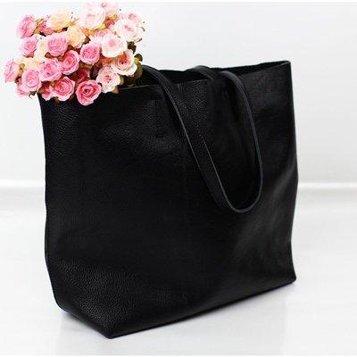 手提包 真皮 托特包-經典黑色牛皮肩背女包包73vi3[獨家進口][米蘭精品]