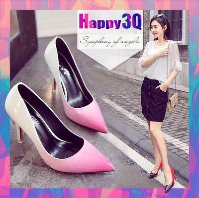 舒適百搭雙色漸層變化美腿顯瘦顯白細跟尖頭高跟鞋-多色34-39【AAA0838】預購