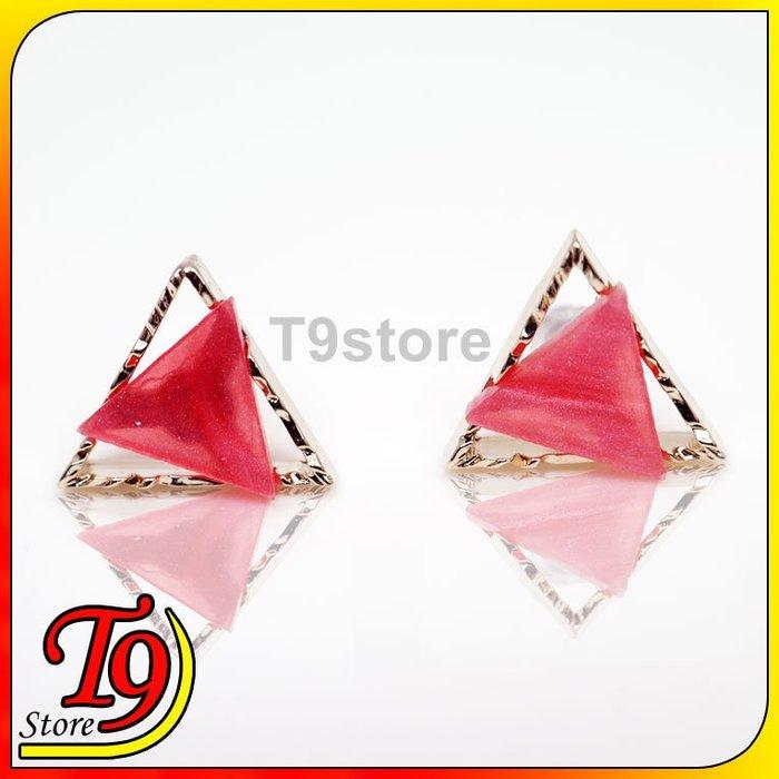 【T9store】韓國製 花邊三角貼耳式鋼針耳環