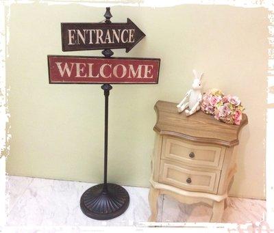 *阿布捲捲鄉村雜貨*歐美國外法式WELCOME ENTRANCE 歡迎 進入鑄鐵旋轉標示牌 民宿 複合式 餐廳 咖啡館