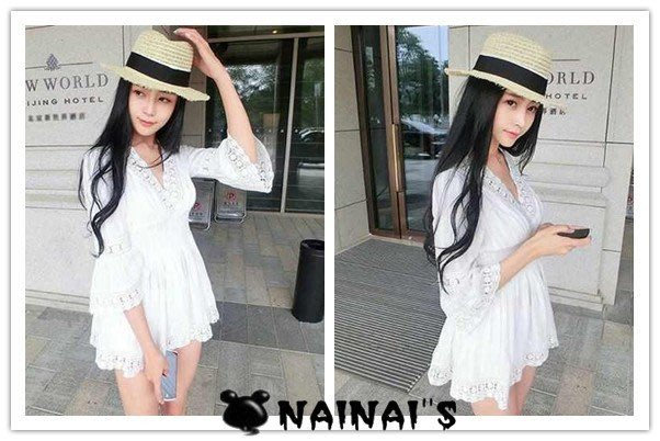【NAINAIS】Shell‧S 8543 韓版 日系雜誌款 提花V領蕾絲喇叭袖收腰洋裝 預