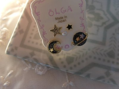☆Chia sweet shop☆日本帶回精緻小巧星球星星月亮貼耳耳環 閃耀藍 日本製