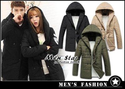 【Men Star】免運費 韓版刷毛保暖大衣 羽絨外套 軍裝外套 輕羽絨 男 女 / 媲美 A&F KAPPA GAP