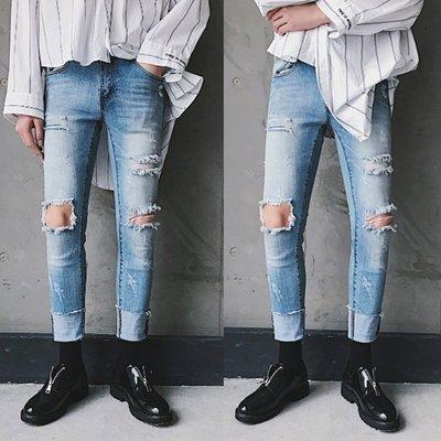 『潮范』 WS3 男士修身膝蓋大破洞腳口毛邊九分褲 牛仔褲 鉛筆褲 牛仔長褲 休閒褲NRG241