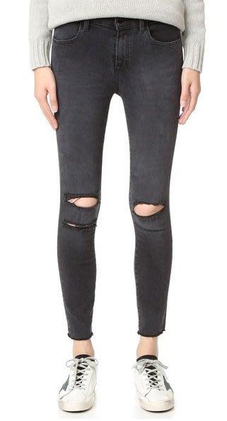 ◎美國代買◎J Brand Photo Ready Cropped抽鬚褲口雙膝刷破大腿灰刷色合身刷破抽鬚牛仔褲