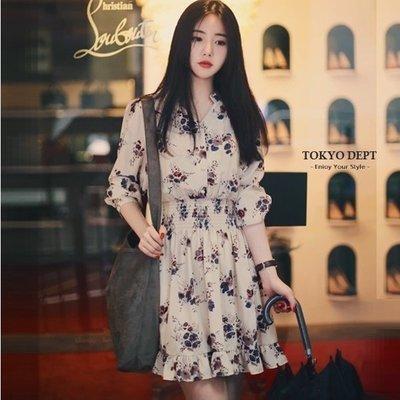 TOKYO DEPT【F8716】韓氣質碎花.長袖洋裝小洋裝小禮服洋裝韓雪紡洋裝露肩伴娘連身裙禮服絲