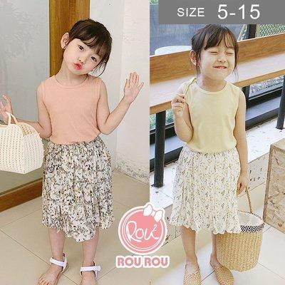 韓版女童雪紡裙。ROUROU童裝。夏女童碎花純棉內裡雪紡短裙 0222-429