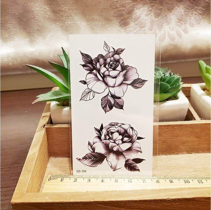 【萌古屋】帶葉玫瑰 - 男女防水紋身貼紙刺青貼紙QS-396 K12