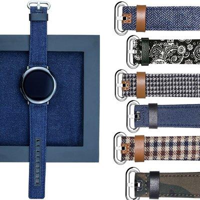 亦美 博能Polar Grit X 錶帶 帆布真皮 牛仔紋 民族風 22mm接頭 替換腕帶 智能手錶帶