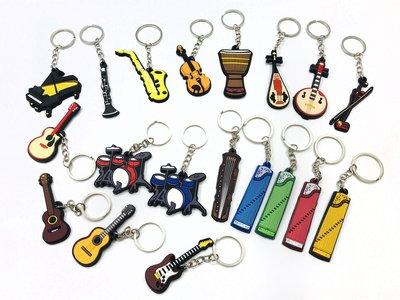 【老羊樂器店】塑膠 樂器鑰匙圈 鑰匙圈 吊飾 國樂 提琴 鋼琴 管樂 吉他 烏克麗麗 爵士鼓 薩克斯風 非洲鼓