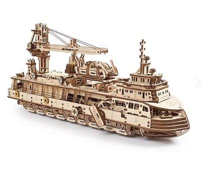 Ugears 破冰極光號 極地破冰船 自走DIY木製模型 救生艇 深海探勘船 旋臂起重機