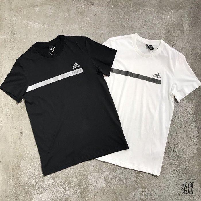 (貳柒商店) adidas SS Tee Tape 男款 基本款 短袖 反光 黑色 DZ2214 白色 DZ2212