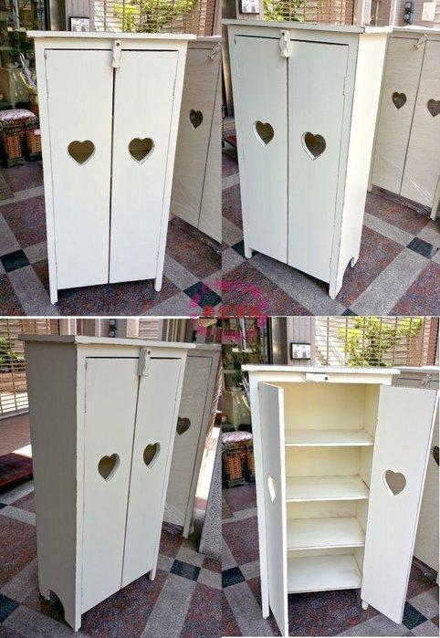 OUTLET限量低價出清美生活館---全新 鄉村 ZAKKA 實木家具---心型雙門刷舊白復古收納櫃/鞋櫃/置物櫃-B