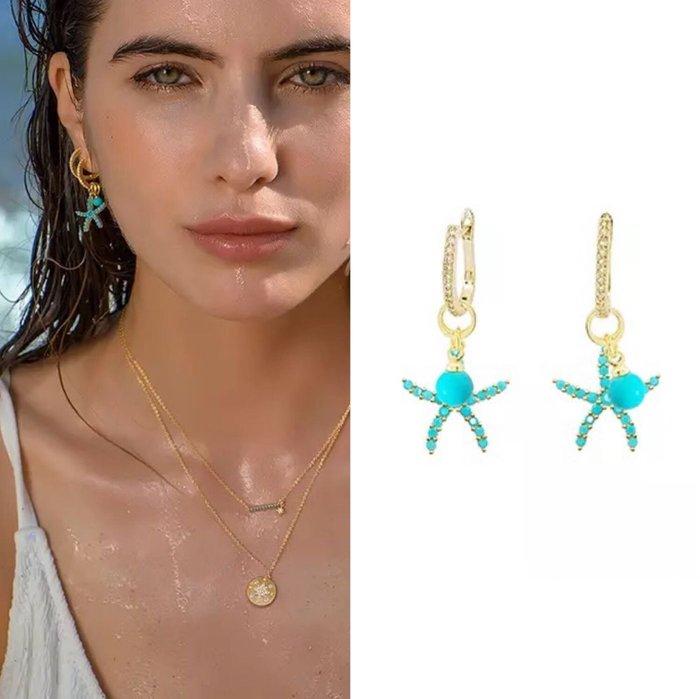 💎820、希臘地中海系列 微鑲天空藍海星耳環(小版)💎  Swarovski Dior  [EB004]