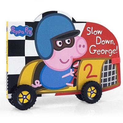 英文原版繪本粉紅豬小妹 紙板車輪書 Peppa Pig: Slow Down, George!小豬佩佩奇 滑行車輪 真實