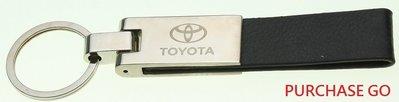 ☆Purchase GO☆ 皮革鑰匙圈 皮革鎖匙圈 皮製鑰匙釦 黑色款 TOYOTA 豐田