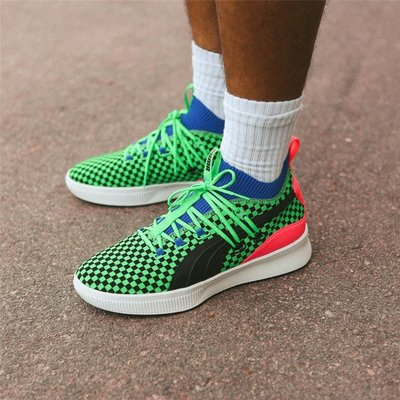 紐約專代sbc代購彪馬Puma Clyde Court Summertime黑綠棋盤格緩震籃球鞋男